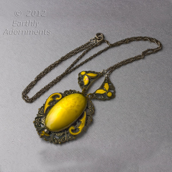 Edwardian era filigree, enamel & satin glass pendant necklace. nlbg823
