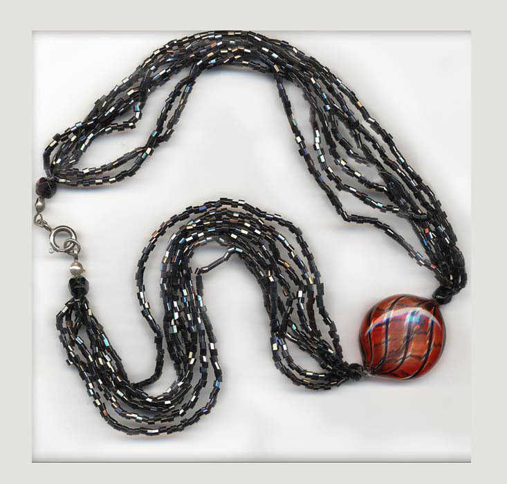 Murano hollow blown art bead necklace. nlbg962e
