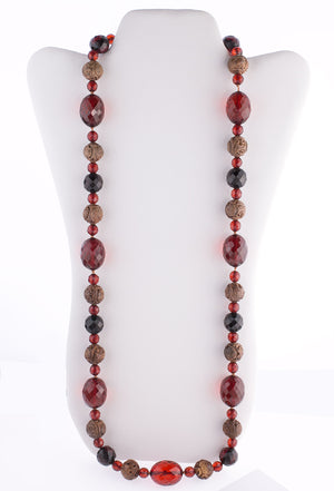 "Vintage Deco carved Chinese wood Shou bead and faceted Cherry Amber Bakelite bead opera length necklace  34"". nlbk798"