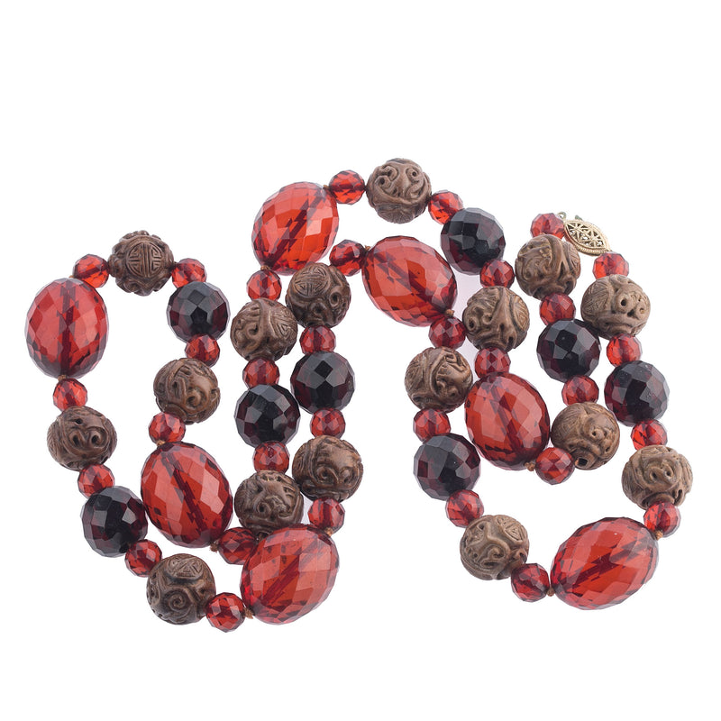 Vintage Deco carved Chinese wood Shou bead and faceted Cherry Amber Bakelite bead opera length necklace  34