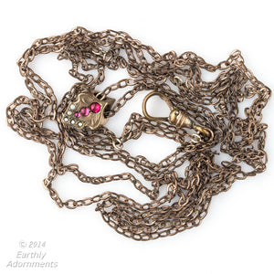 Victorian ladies 52 inch gold filled long chain with pearls and rubies. A.H.B. & Co. of Boston. nlch172