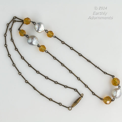 nlch173(e)-Vintage brass chain necklace with baroque freshwater pearls and cut amber glass faceted beads
