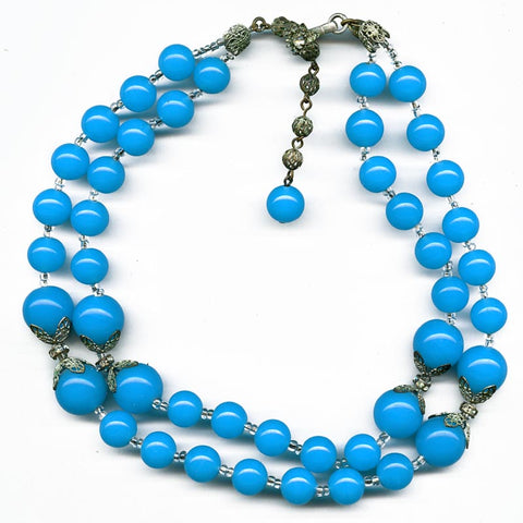 nlcs811(e)-Signed vintage Miriam Haskell two strand necklace in Peking glass and crystal