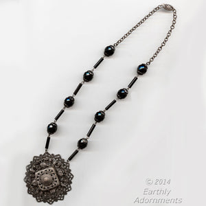 Antique turn of the century Bohemian silver metal and jet glass necklace. nled490