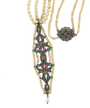 Edwardian glass pearl sterling silver and colored glass lavaliere 2-strand necklace. nled495