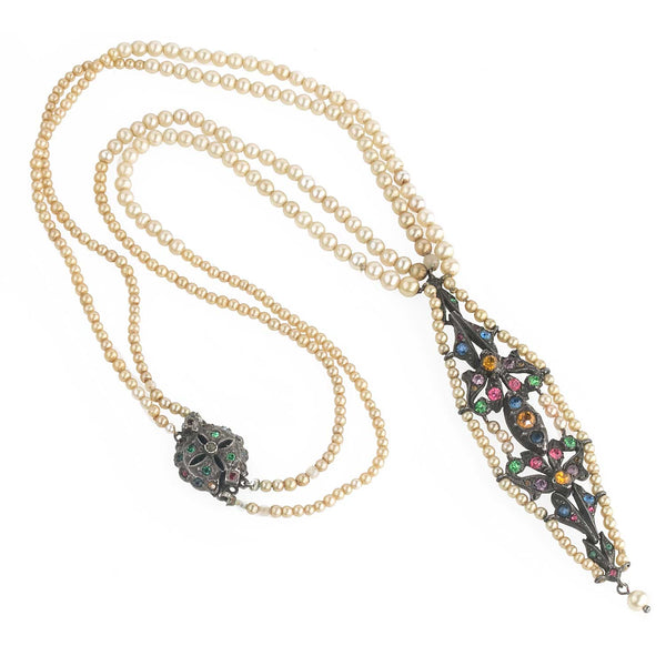 Antique Edwardian glass pearl, sterling silver and colored glass lavaliere 2-strand necklace. nled495(e)