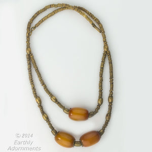 Vintage African brass heishi and African amber necklace. nlet808(e)