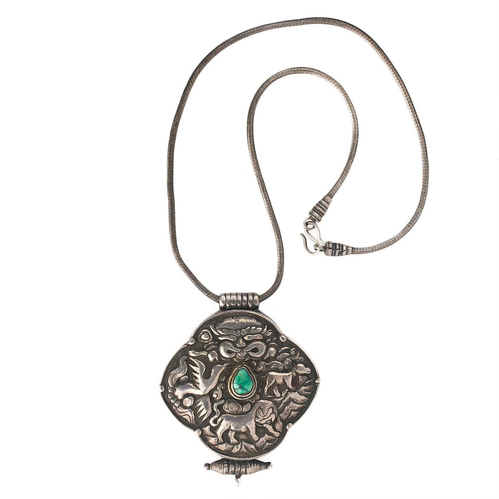 Vintage Tibetan repoussé sterling silver and turquoise Gau prayerbox pendant with silver braided chain. nlet815cs