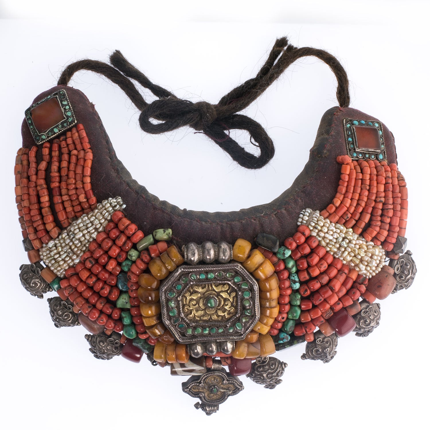 Vintage Nepalese Collar Necklace with Turquoise and Red Stone Inlay Wood and Silver Beads Coral