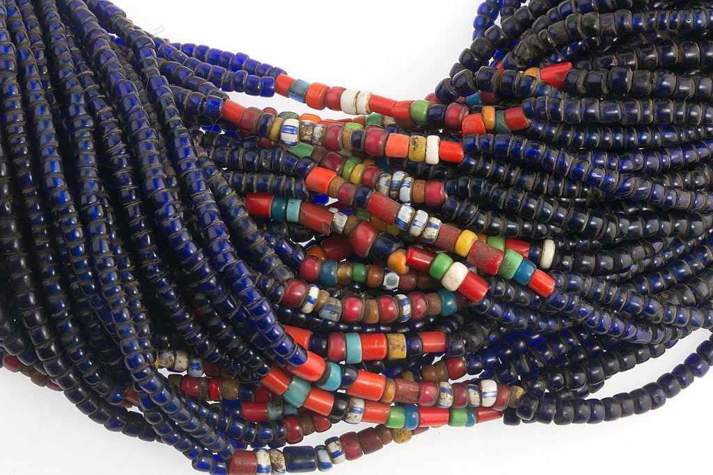 Rare old Naga tribal cobalt blue glass bead necklace. nlet817cs