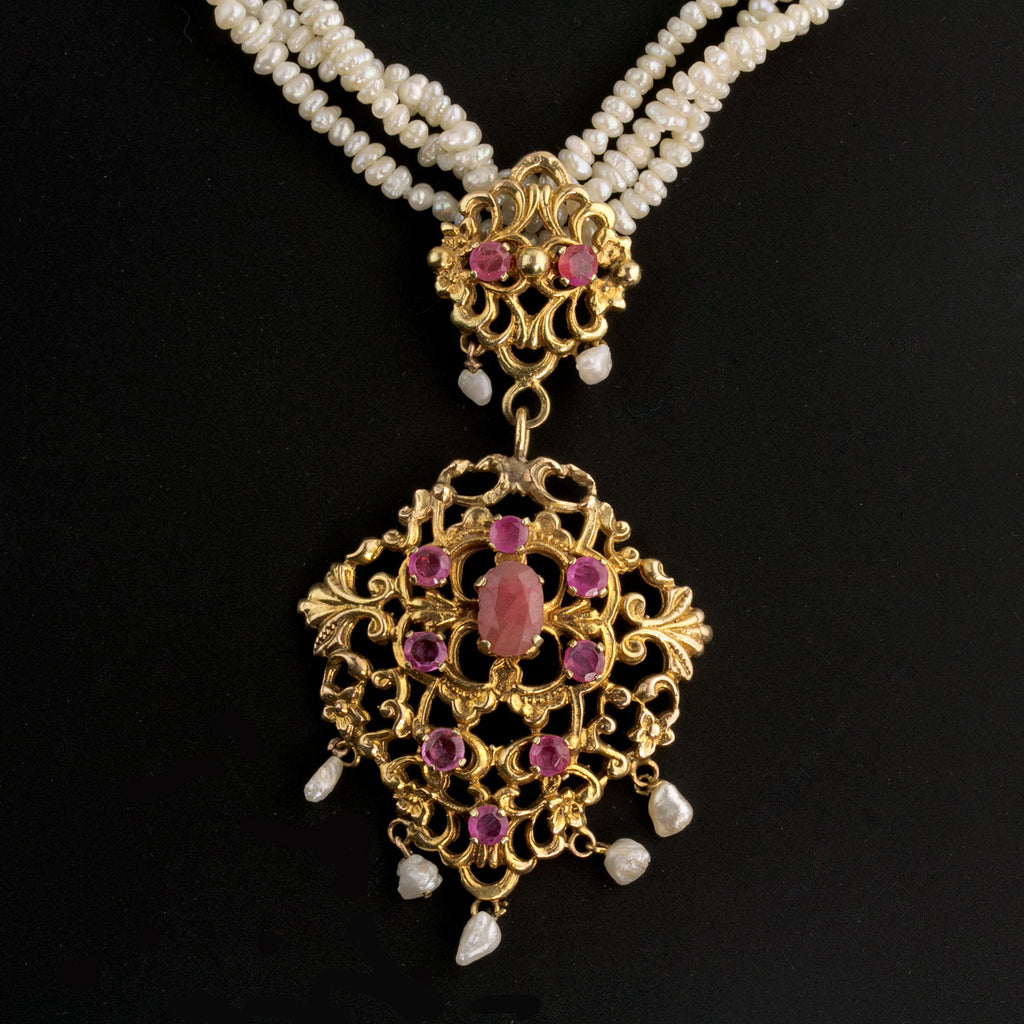 Estate ruby and 14k yellow gold lavaliere pendant necklace with 3 strands Japanese Biwa pearls-NLFN102(e)