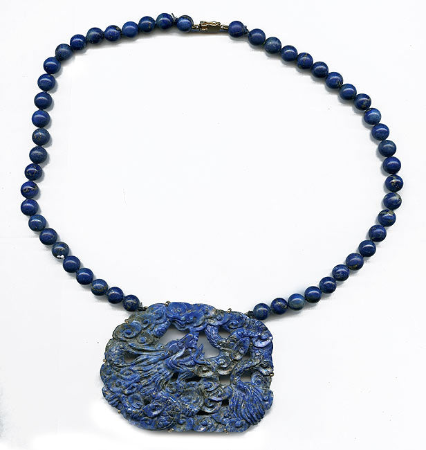 nlfn108(e)-Vintage lapis dragon pendant necklace in 14k setting with lapis beads