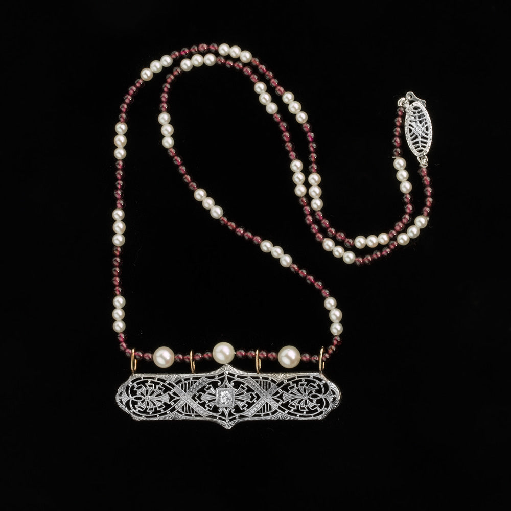 nlfn118(e)-Art Deco 14k white gold and diamond filigree necklace with garnets and Akoya pearls