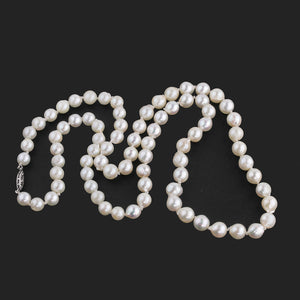 Vintage Japanese Akoya semi-baroque pearl estate necklace 7mm beads 24 inches. nlfn120