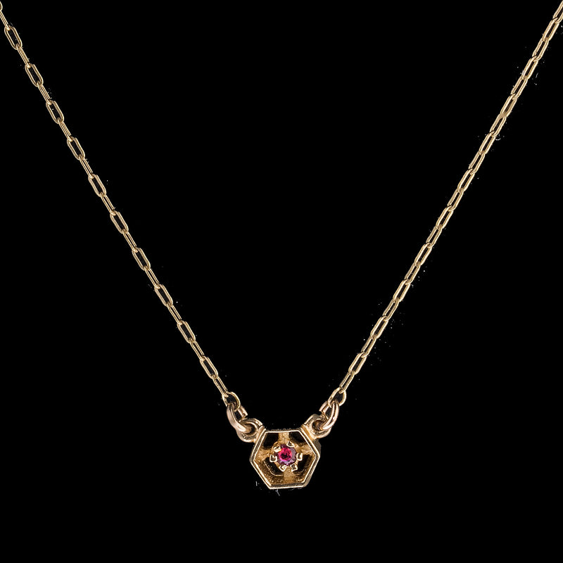 Vintage 14k gold fine chain necklace with ruby and gold  link. nlvn122