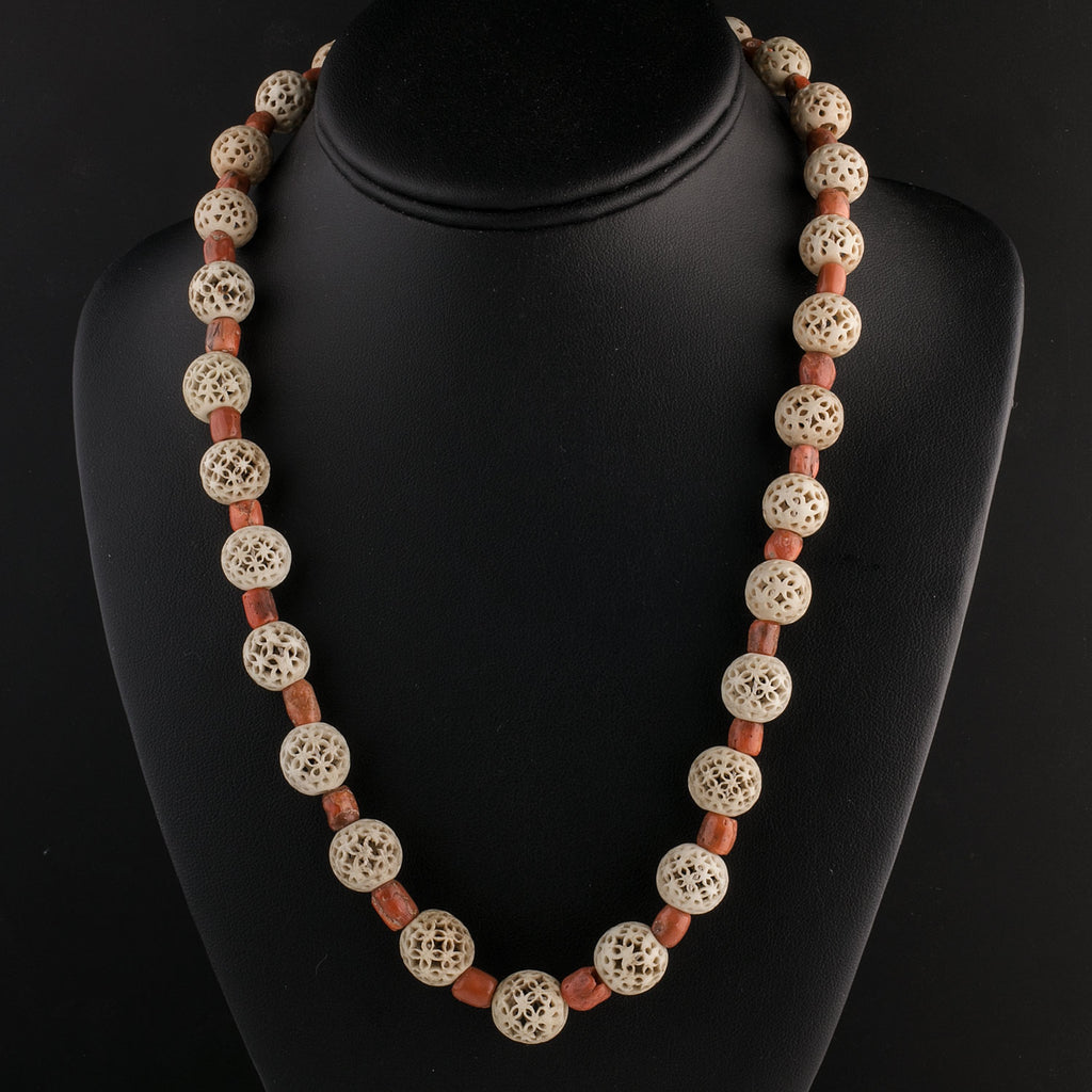 Antique rare Cantonese carved hollow bone bead and  Mediterranean coral bead necklace.  nliv834