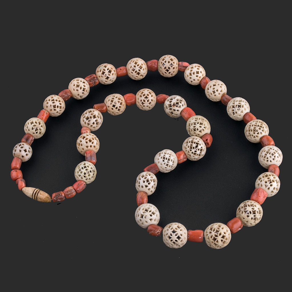 Antique Cantonese carved bone bead and salmon coral bead necklace.  nliv834