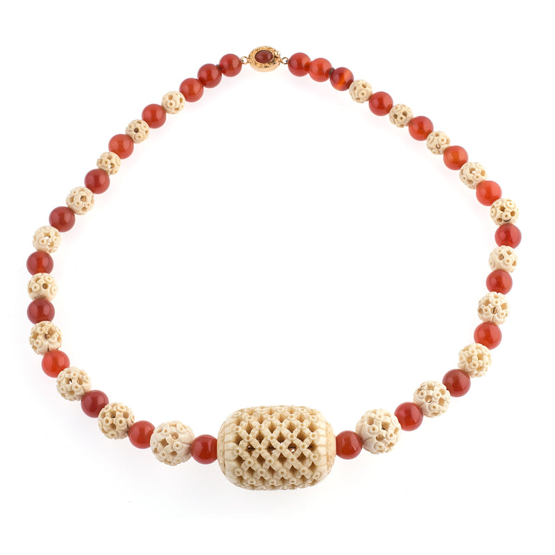 Necklace of rare antique intricately hollow carved Chinese Cantonese bone beads and vintage natural Carnelian  beads.  nliv875