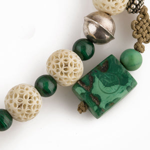 Antique rare Cantonese carved hollow bone bead and Malachite bead necklace.  nliv876