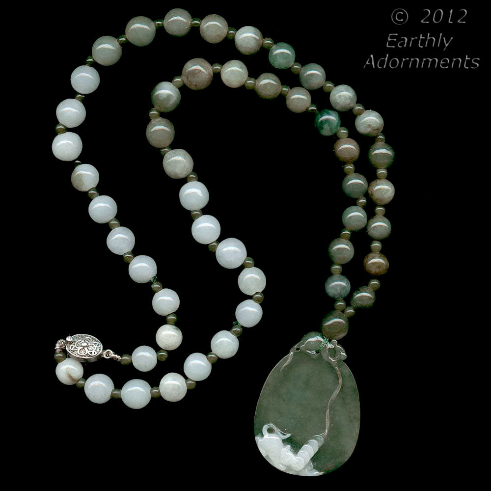 nlja860(e)-Carved jade cameo pendant and bead necklace