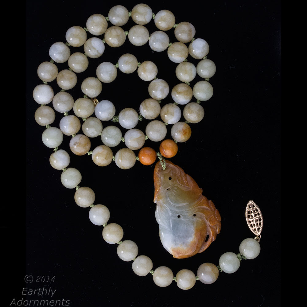 nlja863-Vintage estate Burmese natural jadeite pendant and bead necklace in an array of earth tones