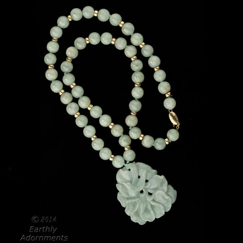 nlja871(e)- Vintage estate Burmese pale green jadeite carving and bead necklace with 14k beads and clasp.