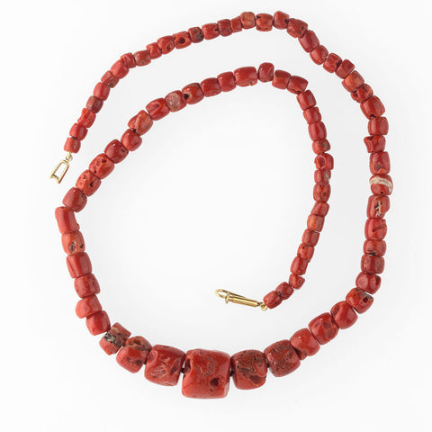 nlja876cs(e)- Necklace of antique Mediterranean red coral trade beads.
