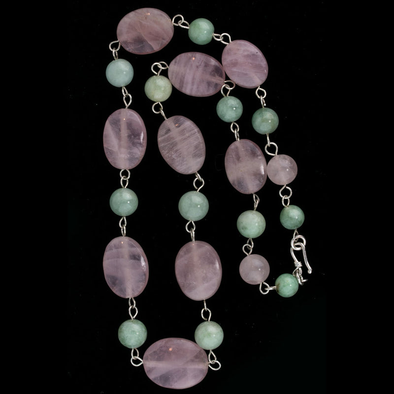 Vintage rose quartz and green jadeite necklace. Sterling clasp. nlja880