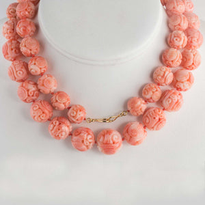 Vintage carved Mediterranean large carved variegated coral bead necklace. 30 inches 18k vermeil clasp. nlja881
