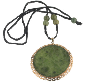 Vintage carved nephrite jade and silver vermeil pendant necklace.  nlja897