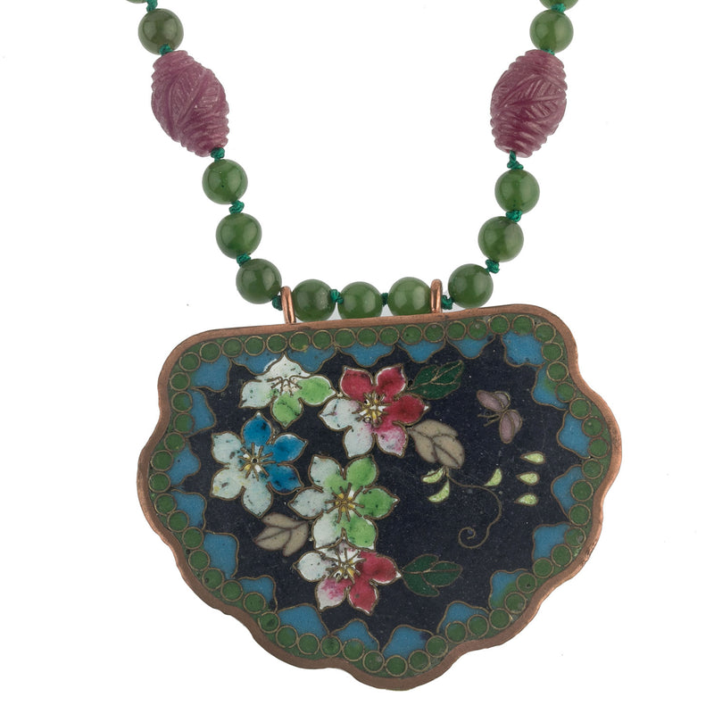 Antique Japanese cloisonne buckle pendant British Columbia green nephrite and carved Mysore ruby bead necklace nlja899