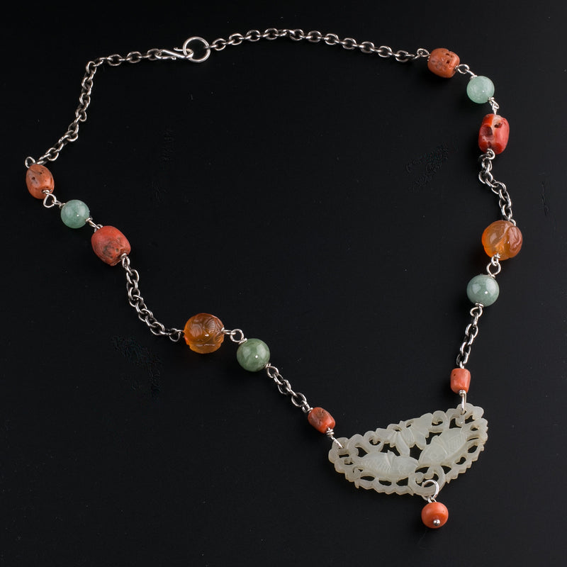 Antique Chinese nephrite jade carved openwork carved plaque pendant with coral, carnelian and jade beads with sterling silver chain. nlja905
