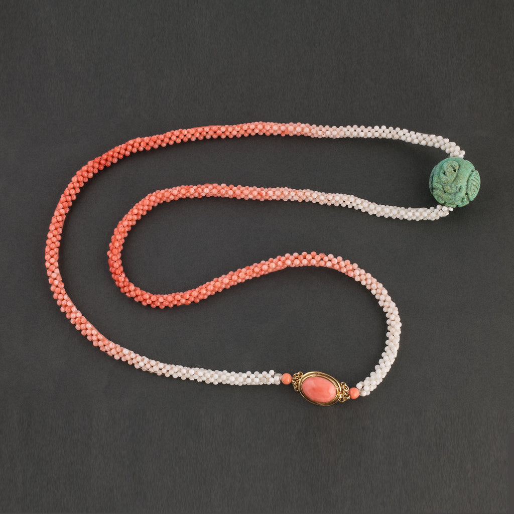 Woven coral rope necklace with old carved turquoise Shou bead and vermeil coral clasp. 34 inches. nlja909