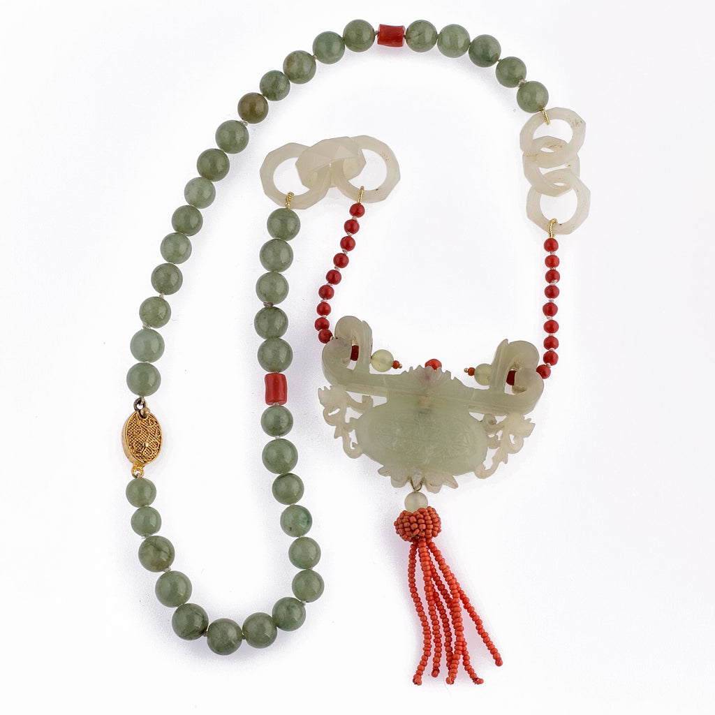 Vintage Chinese nephrite jade carved pendant with coral tassel, Devil's work rings, Jadeite and coral beads necklace. nlja912
