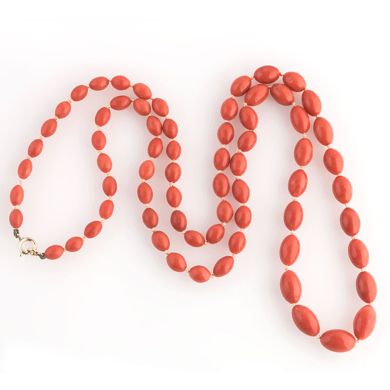 Necklace of superb vintage graduated Mediterranean salmon coral oval beads. 29 inches. nlja913
