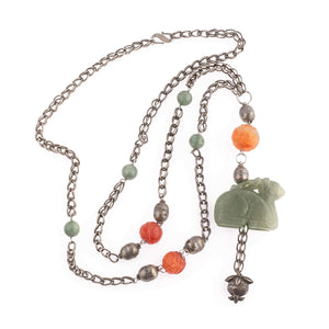 Chinese Nephrite jade deer pendant necklace coin silver woven chain with nephrite jade, silver and carved carnelian beads. nlor787