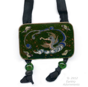 Vintage Japanese cloisonné pendant with Peking glass on grosgrain ribbon. nlor802