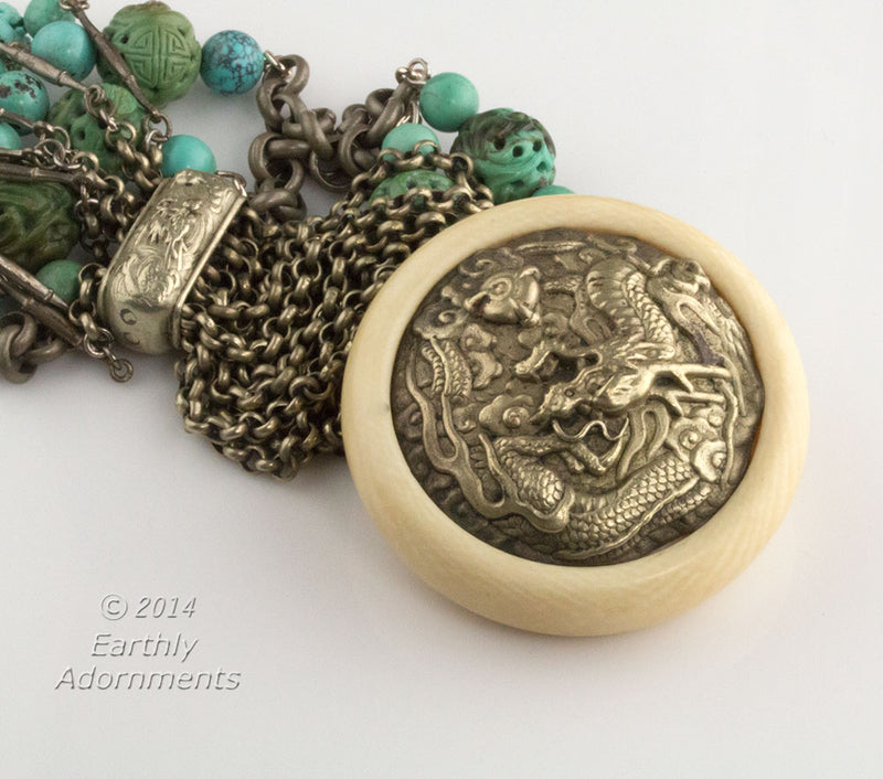 nlor808- Japanese Kagamibuta ivory netsuke and carved turquoise necklace