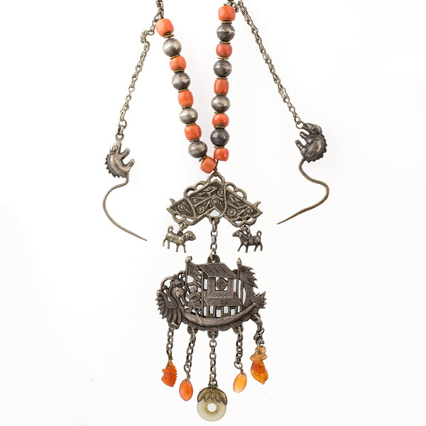 nlor816cs(e)-Antique Chinese Qing Dynasty Silver Dragon Boat amulet necklace with silver and coral beads