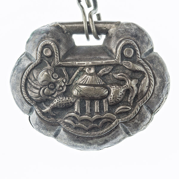 nlor817(e)-Antique Qing dynasty Chinese puffy silver lock necklace with Dragonfish at Longmen gate