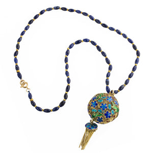 Vintage necklace of lapis lazuli beads and Chinese vermeil enamel filigree pendant. nlor822