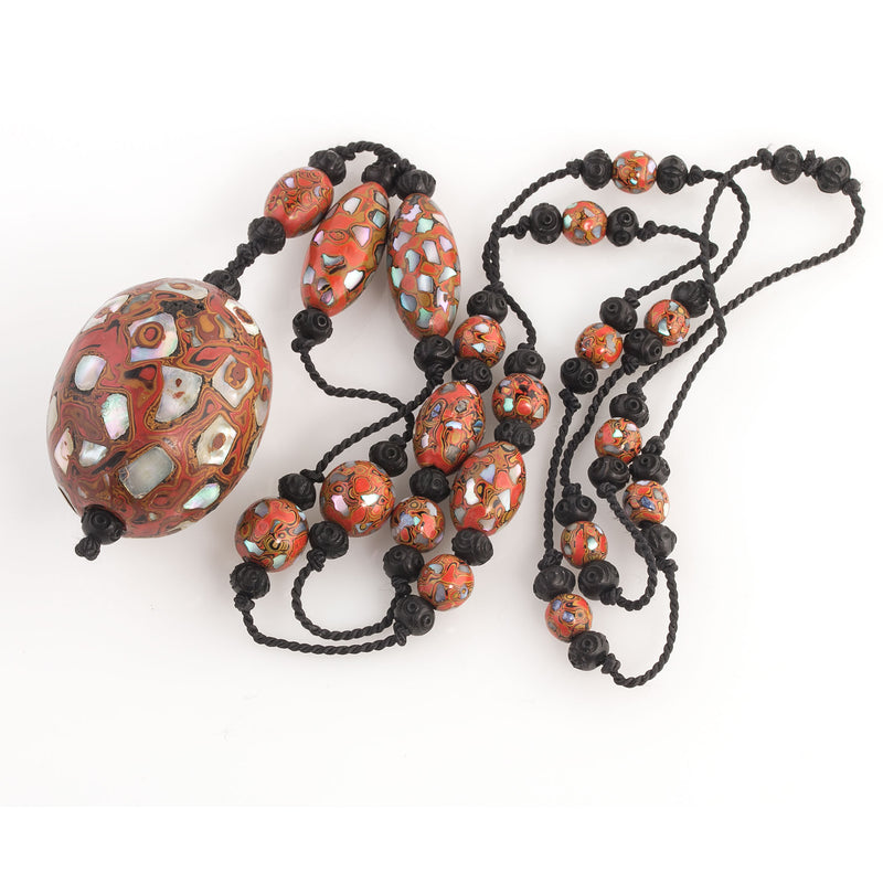 Antique rare Japanese red-orange Mokume style lacquer beads with abalone shell inlay necklace. Early 20th century. nlor823
