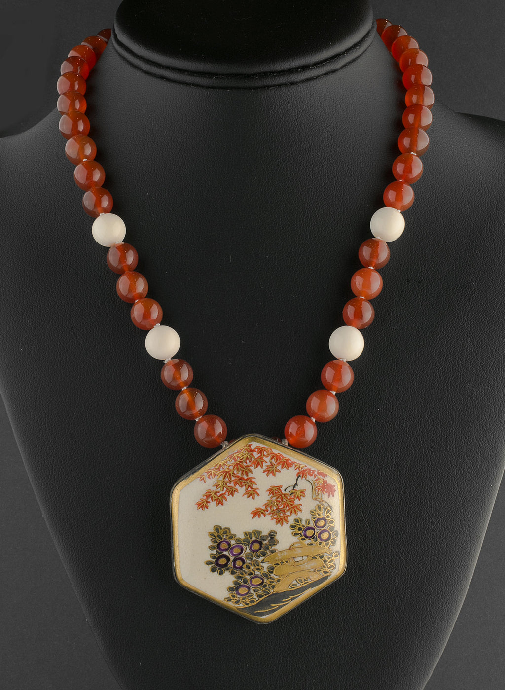 Antique Japanese Satsuma silver pendant necklace with carnelian beads.  nlor829