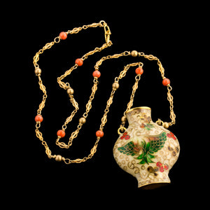 Midcentury cloisonné vase pendant necklace with fancy gp chain and intermittent salmon coral beads. nlja830