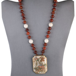 Antique Japanese Satsuma silver pendant necklace with carnelian beads.  nlor833