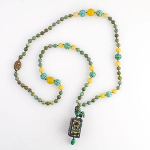 Antique Chinese Qing Dynasty enameled shrine pendant necklace with turquoise beads. nlor835