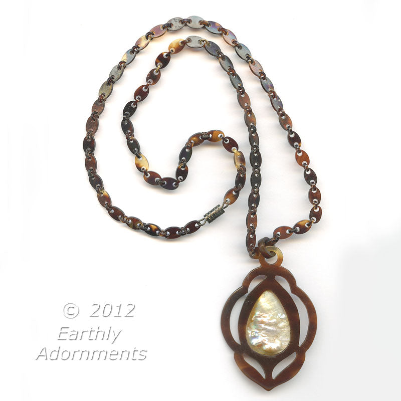 nlvc523-Victorian tortoise shell and blister pearl pendant on a tortoise shell chain