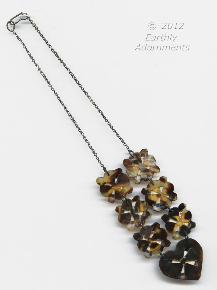 nlvc526-Antique Victorian tortoise shell operculum necklace