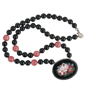 Antique Victorian Pietra Dura stone set in sterling silver bezel and strung with vintage black onyx and Rhodochrosite beads. nlvc535