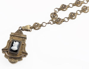 Victorian book chain Etruscan style  sardonyx cameo locket W & S Blackinton Company.  j-vc-nl536